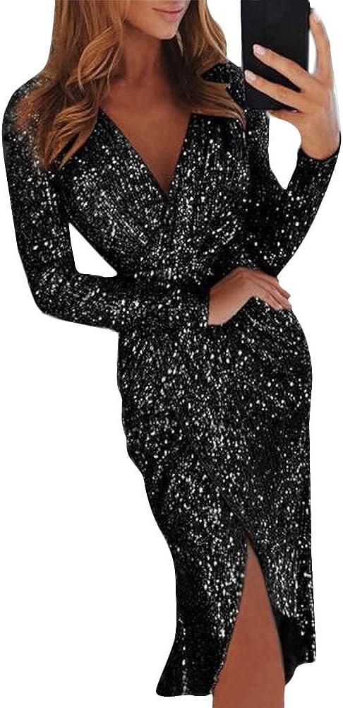 Minetom Damen Abendkleider V-Ausschnitt Sexy Cocktailkleid Hochzeit Pailletten Glänzend Hoch Partykleider Langarm Festlich Kleid Ballkleid
