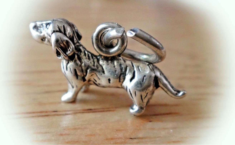 Vintage Sterling Silver Dachshund Dog Charm for your Bracelet or Pendant