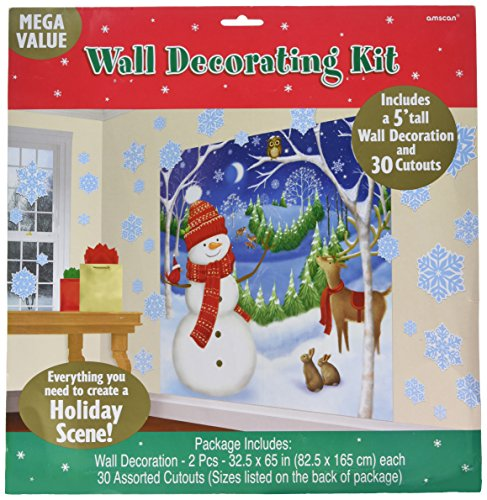 amscan Winter Friends Wall Scene Setters Kit, 32 Ct. | Christmas Decoration