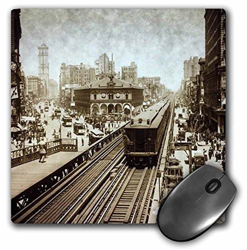 3dRose Scenes from the Past Magic Lantern Slides - New York City Herald Square N Ave Upper Broadway to Times Square 1900 - MousePad - Ave Nyc Broadway
