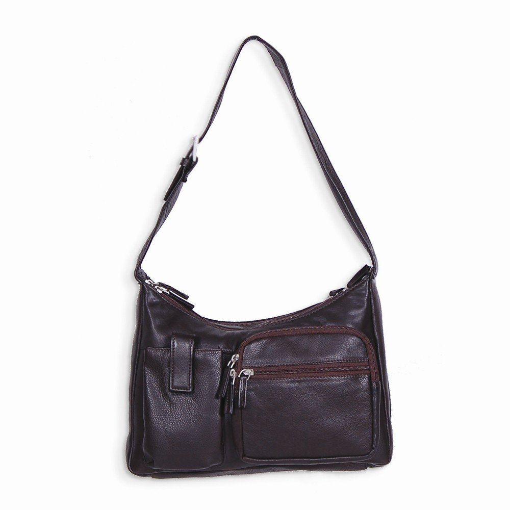 Top 10 Jewelry Gift Brown Dbl Zipper Hobo w/ Front Cell Phone Pocket