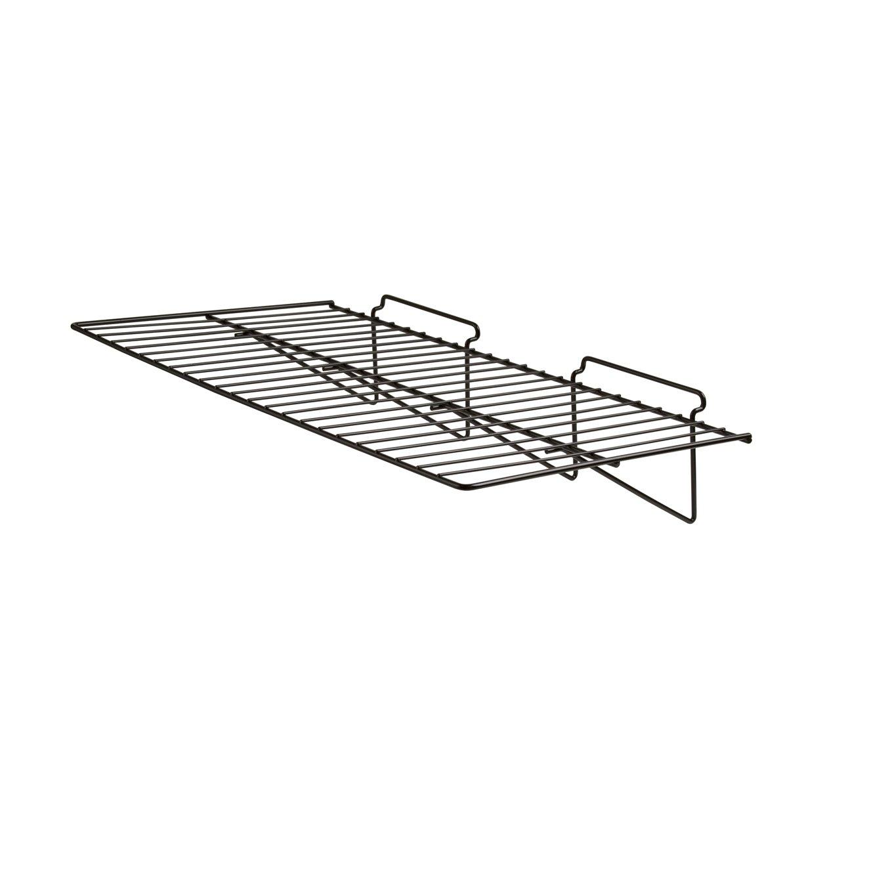 Econoco - Black Straight Shelf, Heavy Duty Semi Gloss Metal for Slatwall, 24'' L x 12'' D (Pack of 6) by Econoco