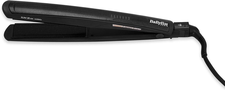 BaByliss ST327E - Plancha de pelo profesional, con recubrimiento Diamond Ceramic, 6 ajustes de temperatura de 140° C a 235° C, iónica, para cabello seco y húmedo