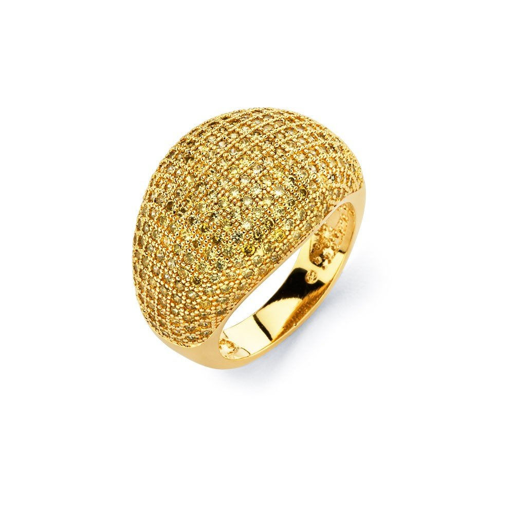 Clear Micro Pave Set Cubic Zirconia Fashion Ring Yellow Gold-Tone Plated Sterling Silver Size 7