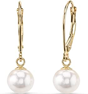 14K Yellow Gold Freshwater Cultured White Pearl Leverback Earrings