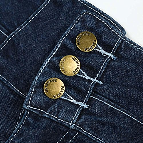 Donna Casuale Allungare Pantaloni Alto Denim Slim Strappato Vita Sottile Jeans Byste Matita gw7dpqZg