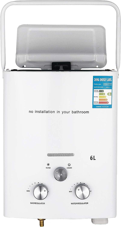 Bisujerro 6L Calentador de Agua Portátil LPG Calentador de Agua sin Tanque 12kw Calentador de Agua Eléctrico Calentador de Agua Instantáneo de Gas Butano