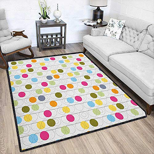 Grunge Graceful Area Rug,Retro Revival Pattern with Circles and Colorful Dots Abstract Style Antique Design Chic Geometric Design Multicolor 67
