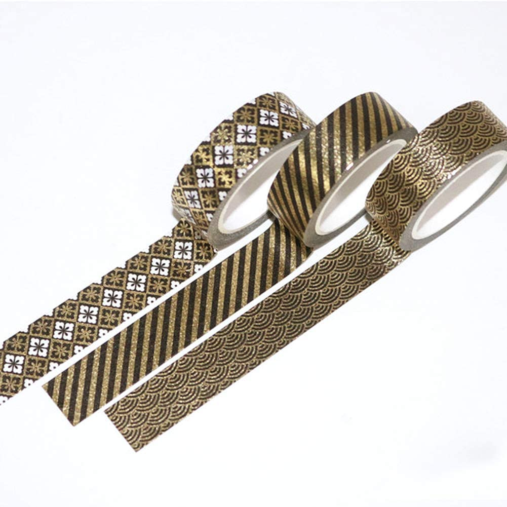 fai da te e confezioni regalo ecc. Set di 10 rotoli di nastro Washi Tape decorazione per vacanze in lamina nera e dorata a forma di fiore nastro decorativo per scrapbooking ufficio feste
