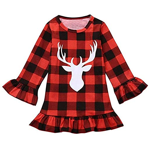 mlchnco toddler baby girl christmas deer clothes red plaid dress long sleeves skirt outfits set