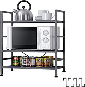 EKNITEY Kitchen Shelving,Adjustable Kitchen Baker's Rack Microwave Oven Stand Utility Metal Storage Shelf with Hooks(3-Tier)
