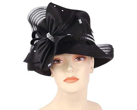 15064ece1ff1d Ms. Divine Collection Women s Satin Church Derby Hats - H515 (Black ...