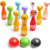 Mini Bowling Game Set for Kids: Best Indoor Mini Bowling Set with 10 Colorful Wooden Character Pins and 3 Bowling Balls - Easy to Set Up and Fun to Knock Down - Perfect Bowling Toy that Works