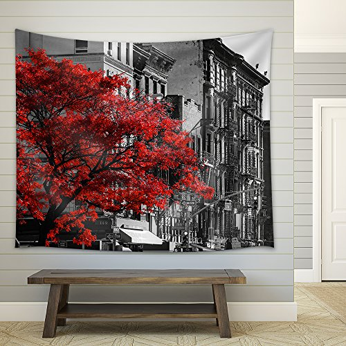 (wall26 - Red Fall Tree in Black and White NYC Street Scene on 2nd Avenue in The East Village of Manhattan, New York City - Fabric Wall Tapestry Home Decor - 68x80 inches)
