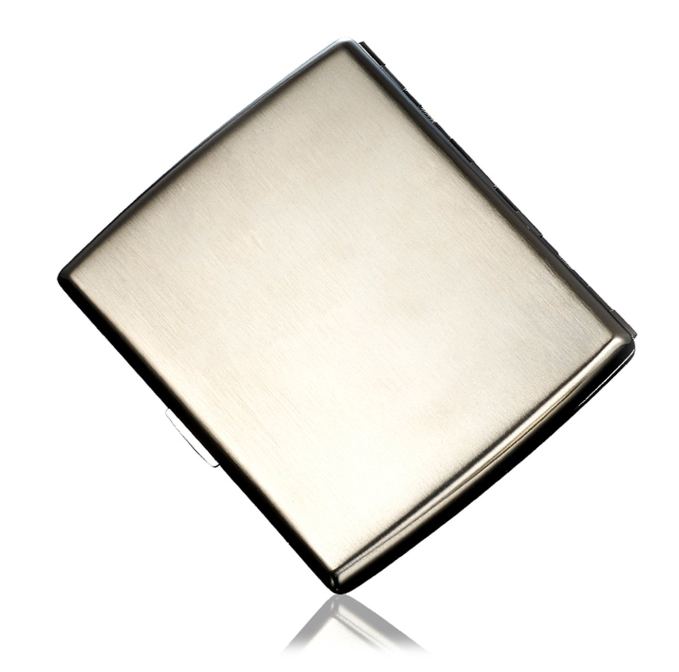 CaLeQi High-Grade Stainless Steel Cigarette Case, Nickel Plating Wire Drawing, Holds 20 Cigarettes.(With Branded Gift Box) (Curved)