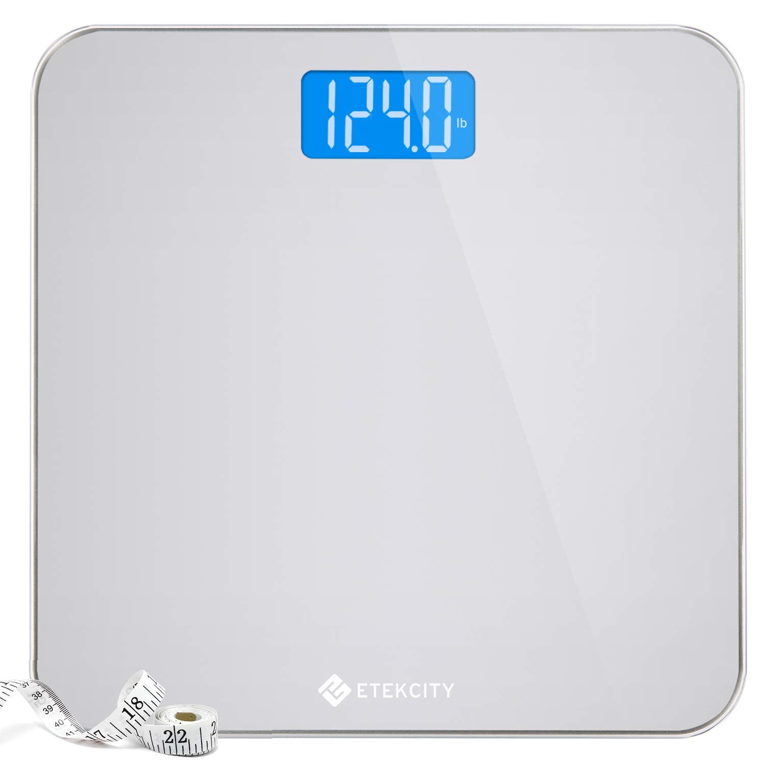 Etekcity Digital Body Weight Bathroom Scale with Body Tape Measure and Round Corner Design, Large Blue LCD Backlight…