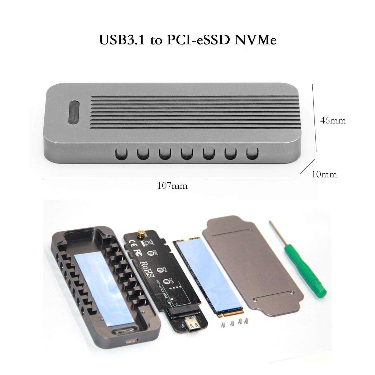 Amazon.com: YIKESHU - Carcasa de aluminio para disco duro ...