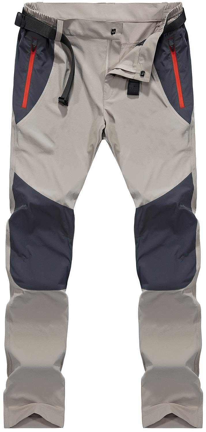 TACVASEN Men's Lightweight Stretch Quick Dry Trousers Outdoor hiking Pants with Zipper Pockets