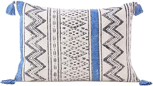 Eyes of India 16 X 24 Black Blue Dhurrie Printed Pillow Cover Lumbar Long Bolster Colorful Decorative Cushion Throw Sofa Couch Boho Seating Bohemian Indian Cover ONLY