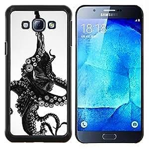 Eason Shop / Premium SLIM PC / Aliminium Casa Carcasa Funda Case Bandera Cover - Monstruo Negro Blanco Animal Mar - For Samsung Galaxy A8 ( A8000 )