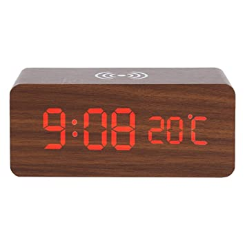 SMAERTHYB Led De Madera Reloj Despertador Digital De Escritorio Temperatura De Control De Voz Cargador Inalámbrico para Reloj De Escritorio del Teléfono ...