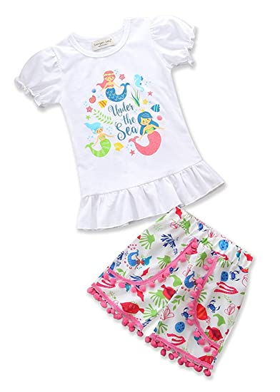 2c1a2daa3d1a Amazon.com: Kids Little Girls Mermaid Ruffle Tshirt Tassel Short Pants  Outfits Clothes Sets: Clothing