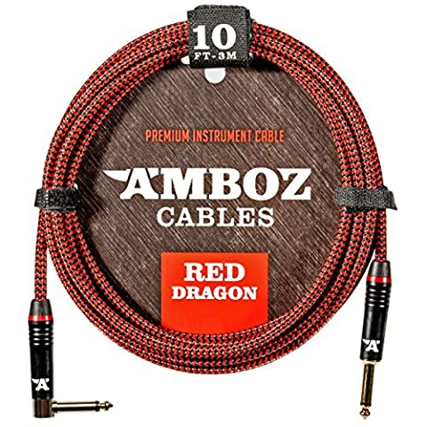 Red Dragon Guitar Cable - Sturdy & Ultra Flexible Instrument Cable For Electric & Bass Guitar Players - Super Noiseless, Used By Amateurs & Pros Alike - 10 FT / straight-rect. / Get Ready To (Bass Guitar Instrument)
