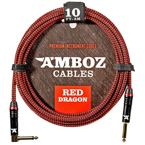 Price comparison product image Red Dragon Guitar Cable - Sturdy & Ultra Flexible Instrument Cable For Electric & Bass Guitar Players - Super Noiseless,  Used By Amateurs & Pros Alike - 10 FT / straight-rect. / Get Ready To Rock!