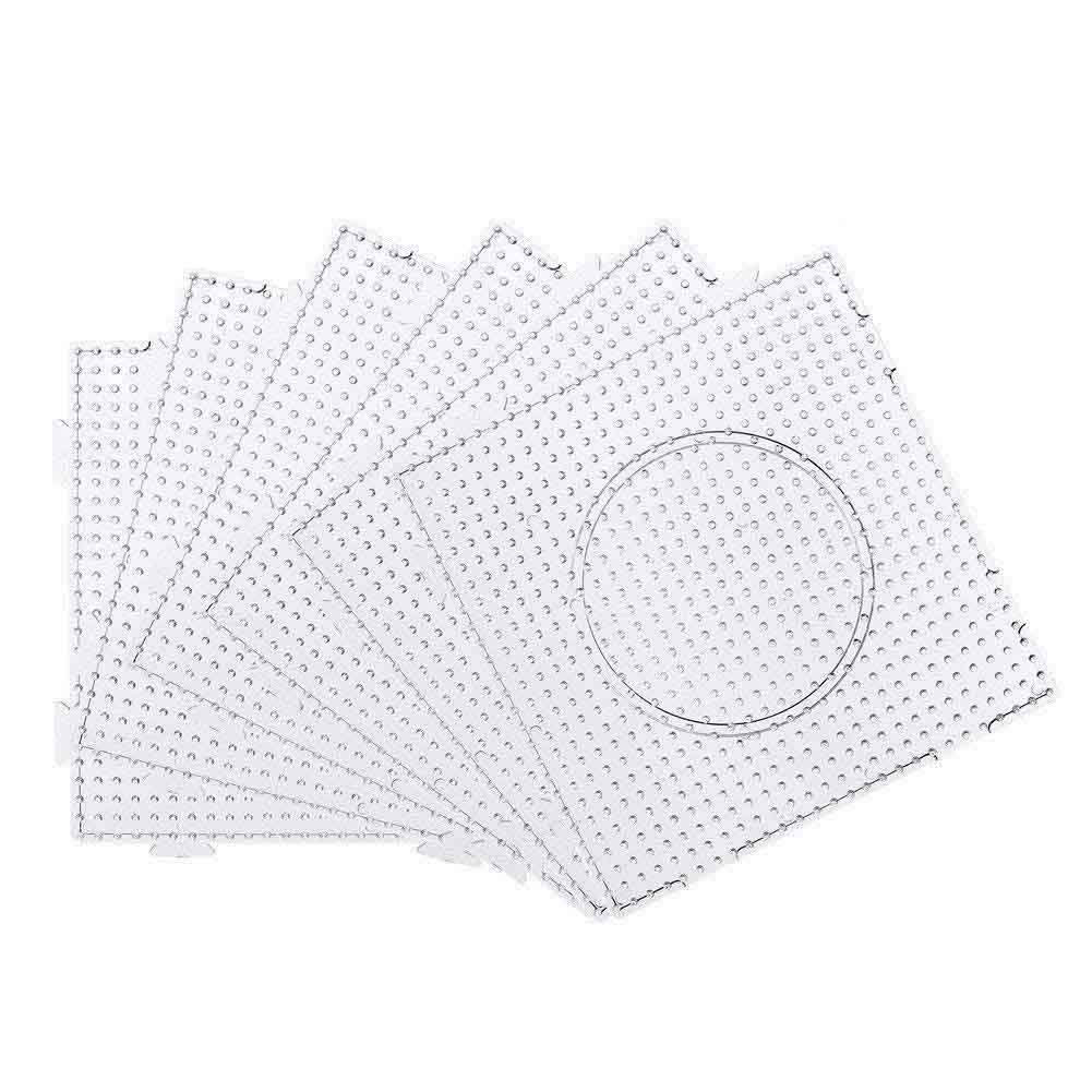 6 Pack 5 mm Large Square Fuse Beads Boards Clear Plastic Pegboards Puzzle Template for Kids Craft Beads FYshun