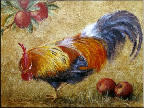 Ceramic Tile Mural - Rooster with Apples 2 - by Rita Broughton - Kitchen backsplash/Bathroom ()