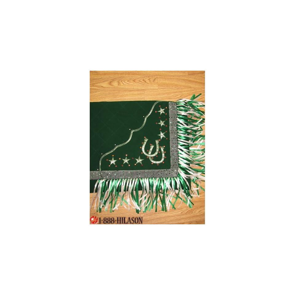 Blanket Green Body Green Border Horse Shoes & Star Design White And Green Fringes