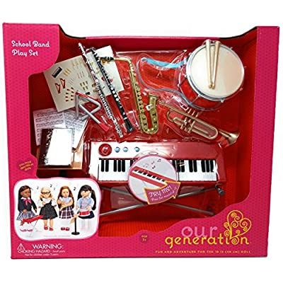 Our Generation - SCHOOL BAND PLAYSET INSTRUMENTS - Functional Keyboard, Comes with 15 Fun Music Accessories!: Toys & Games