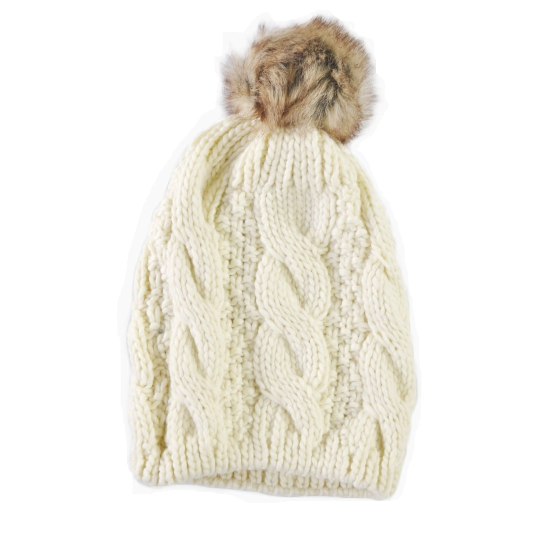 Carrolls Irish Gifts Knit Style Cream Tammy Hat With Faux Fur Bauble