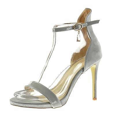b7bfcab685852 Angkorly - Damen Schuhe Pumpe Sandalen - Stiletto - knöchelriemen - Sexy -  Schleife - glänzende