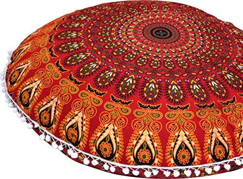 "ANJANIYA 32"" Mandala Bohemian Yoga Meditation Floor Pillow Comfortable Home Car Bed Sofa Cushion Cover Couch Seating Large Zipped Throw Hippie Decorative Ottoman Boho Indian (Red)"