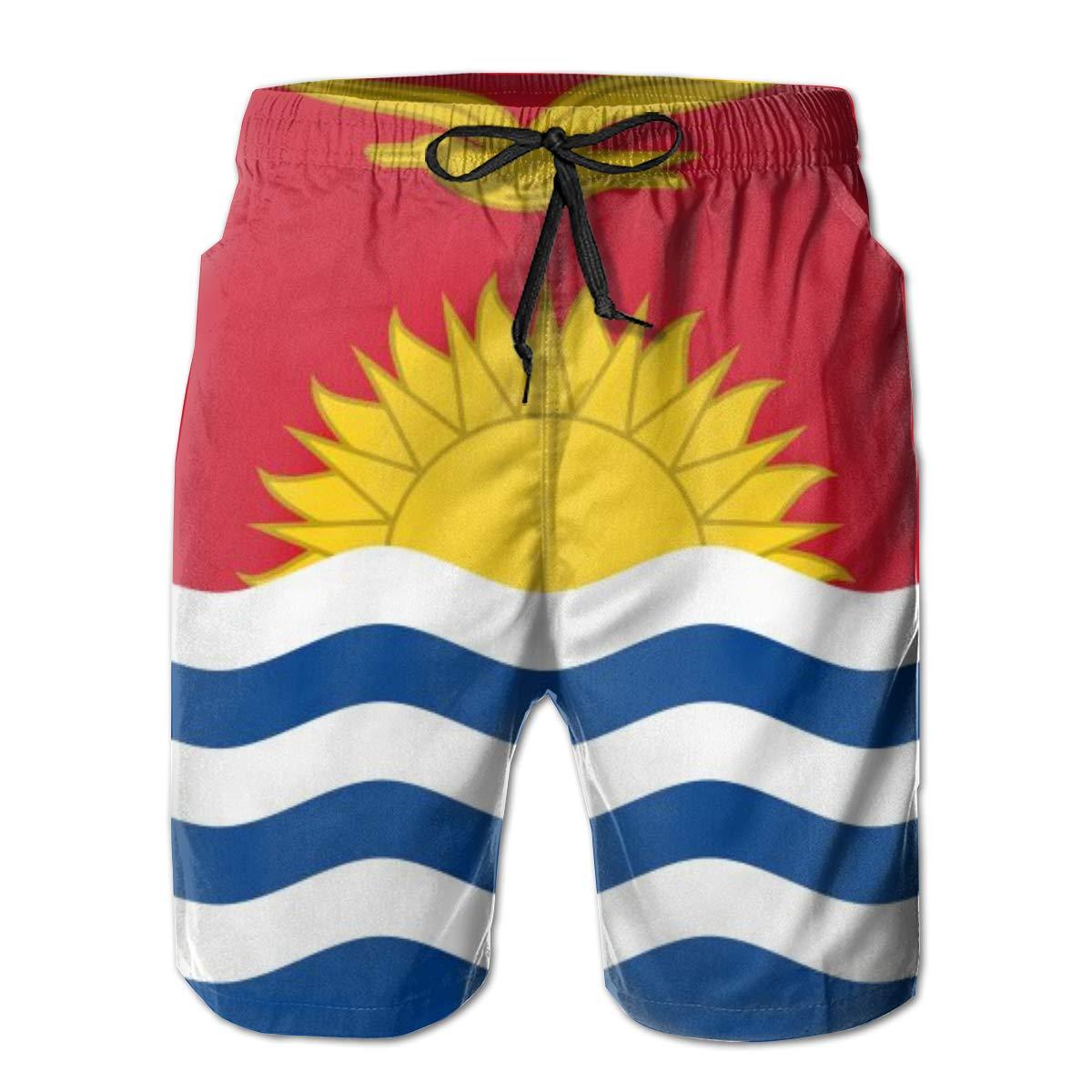 FUNSTYEET Kiribati Flag Mens Board Shorts Swim Mesh Lining and Side Pocket