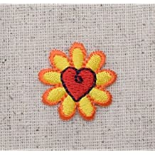 Yellow Daisy with Red Heart - Small Mini - Flowers - Iron on Applique/Embroidered Patch