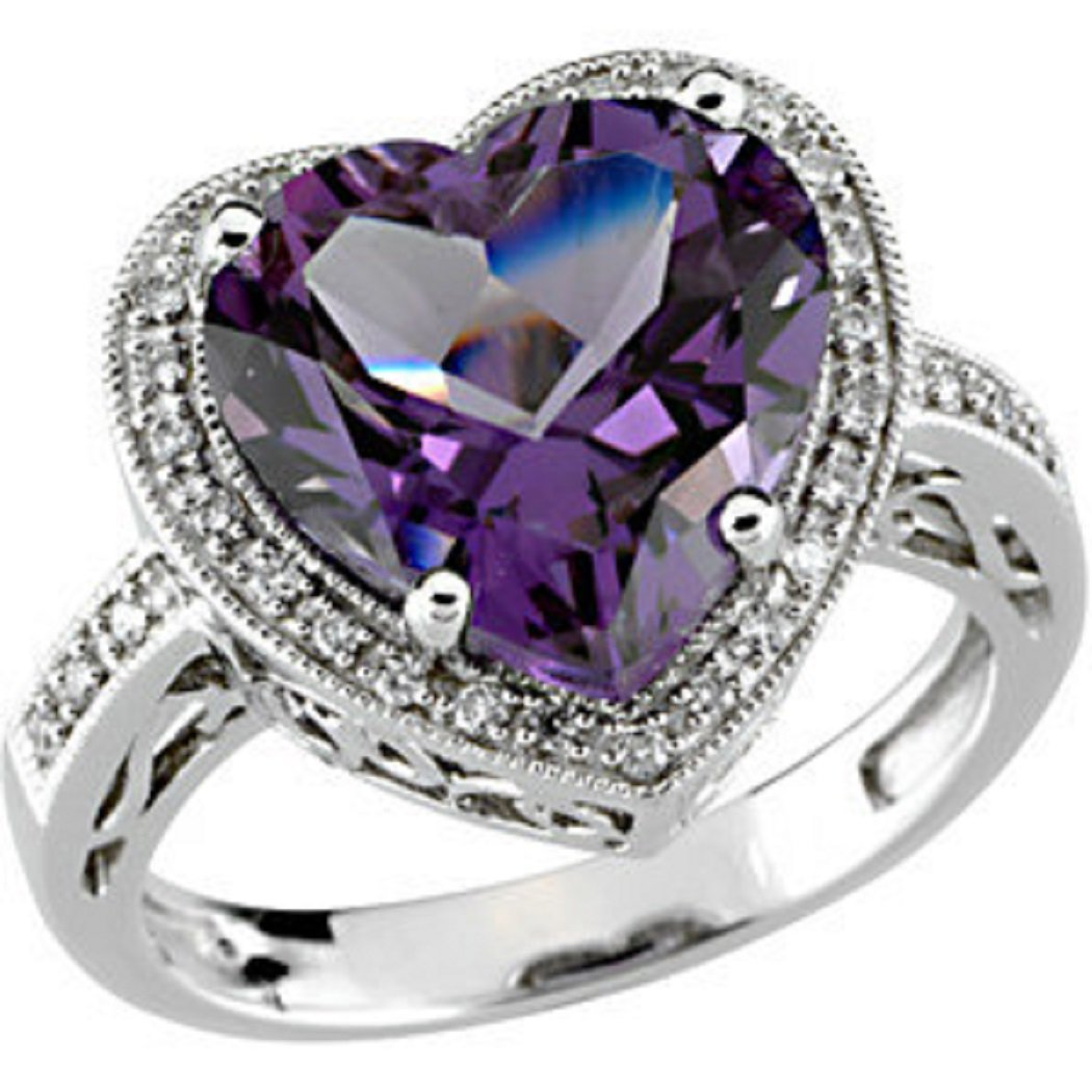 Roxx Fine Jewelry 5.66 Ct Amethyst and Diamond Heart Halo Ring in 14K White Gold