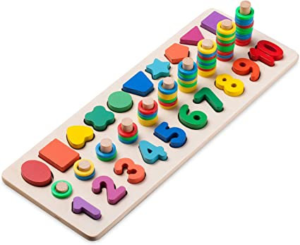 Children Colorful Wooden Puzzle Baby Toddler Early Educational Toy Best Gift