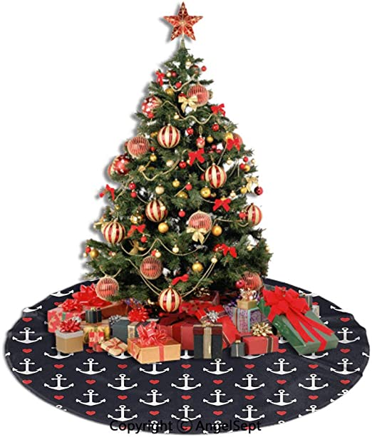 Amazon Com Sfeatrutmat Christmas Tree Skirt Anchor Romantic Cruise Trip Pattern Little Hearts Vacation Sailor Love The Sea Decorative Black Vermilion White 36inches Xmas Tree Decorations For Holiday Party Home Kitchen