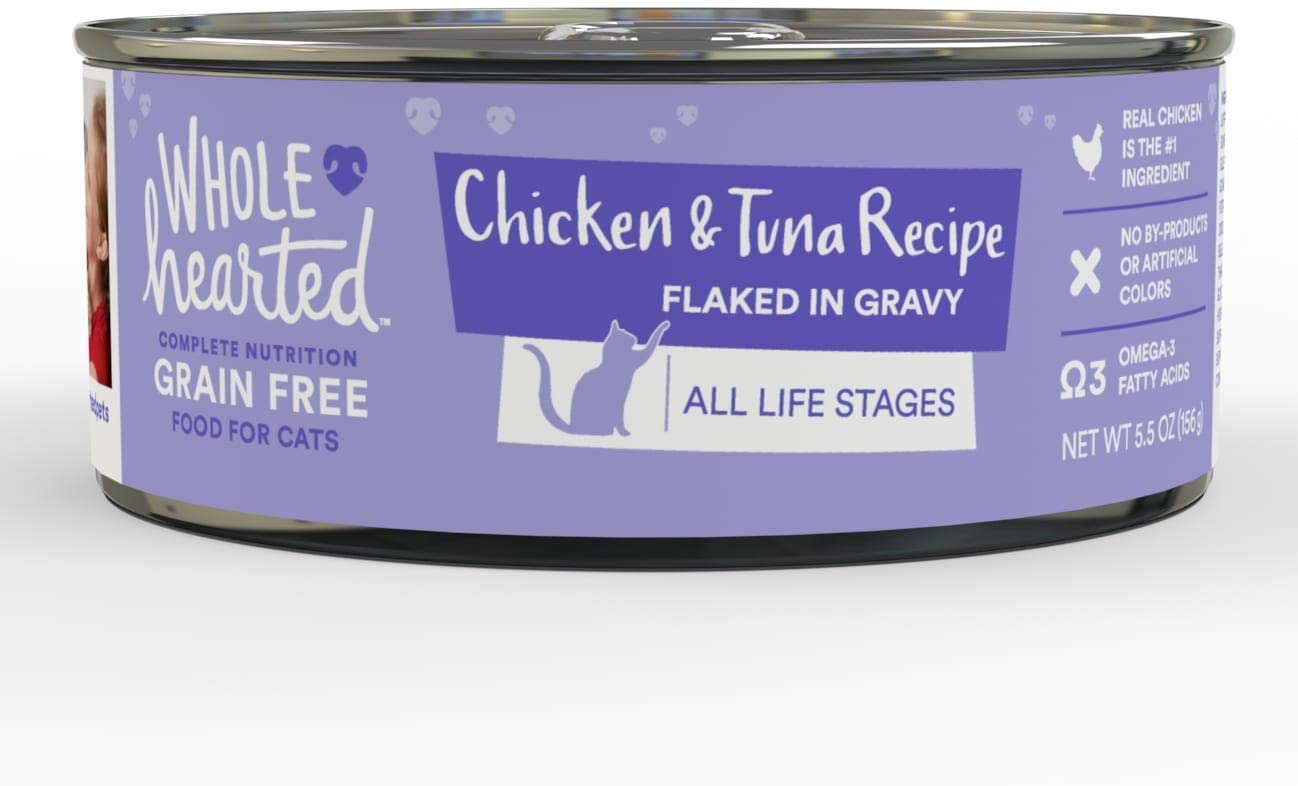 WholeHearted All Life Stages Canned Cat Food - Grain Free Chicken and Tuna Recipe Flaked in Gravy, 5.5 OZ, Case of 12, 12 X 5.5 OZ