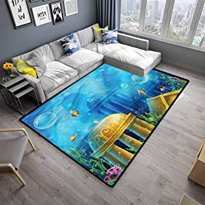 "Large Carpet Ocean for Kitchen Rugs Ancient Atlantis Under Sea (4'7""x6'6"")"