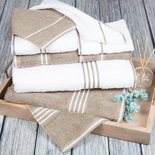 Bedford Home Rio 8 Pc Cotton Towel Set White & Taupe by Bedford Home