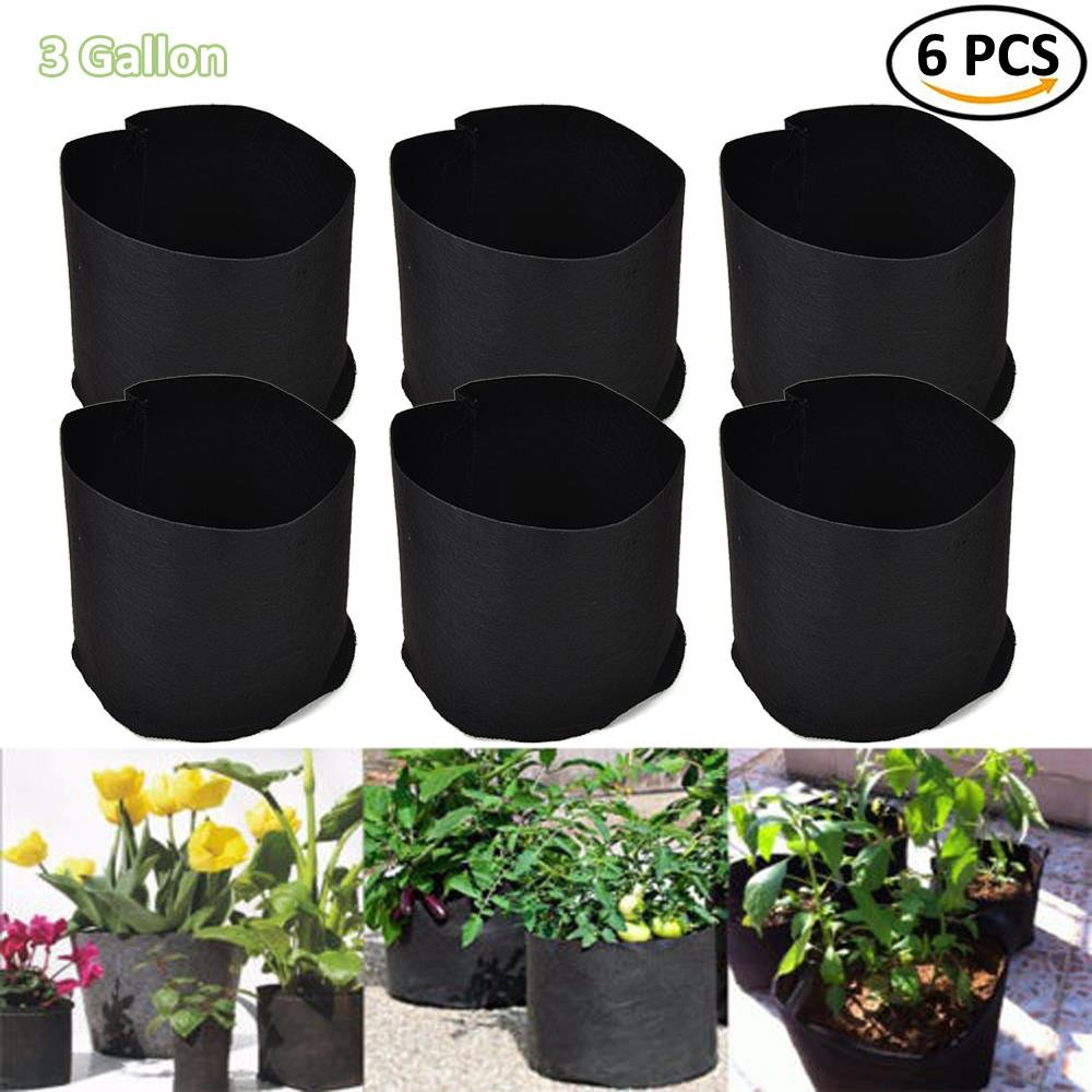 BraveWind 6 PCS 1 Gallon Black Garden Grow Bags Fabric Pots Plant Pouch Round Container Root Aeration Pot Planter with Handles Surging B Waves