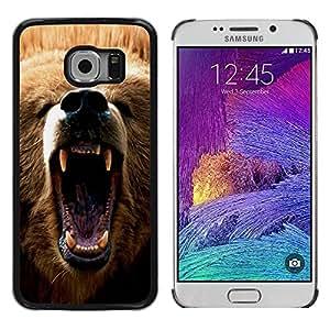Caucho caso de Shell duro de la cubierta de accesorios de protección BY RAYDREAMMM - Samsung Galaxy S6 EDGE SM-G925 - Cool Angry Bear Grizzly
