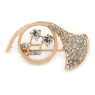 Avalaya Gold Plated Multicoloured Crystal Musical Notes Brooch - 45mm L mWxg2Nzz