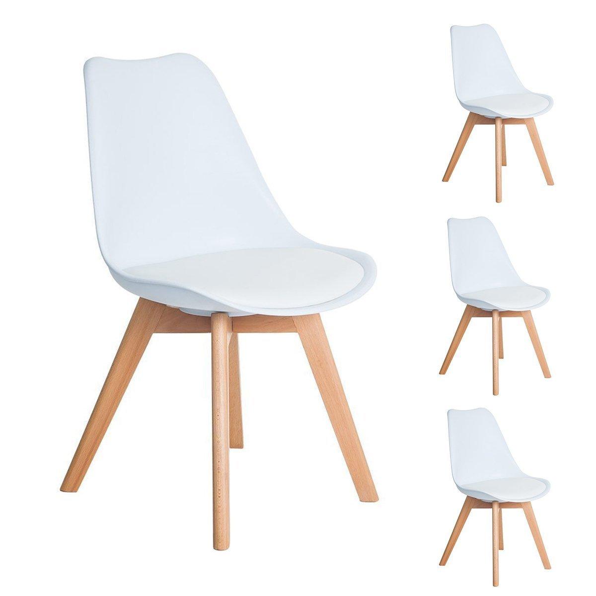 4er Set Esszimmerstühle mit Massivholz Buche Bein, Retro Design Gepolsterter lStuhl Küchenstuhl Holz, Weiß (54 x 48 x 83 CM)