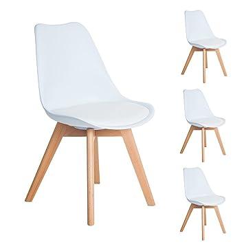 EGGREE Lot de 4 chaises de Cuisine en Bois, Rétro Tulip rembourrée ...