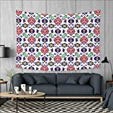 Anniutwo Traditional Large tablecloths Classic Ottoman Moroccan Old Fashioned Turkish Mosaic Tiles Ceramic Artwork Wall Hanging Tapestries W84 x L54 (inch) Multicolor