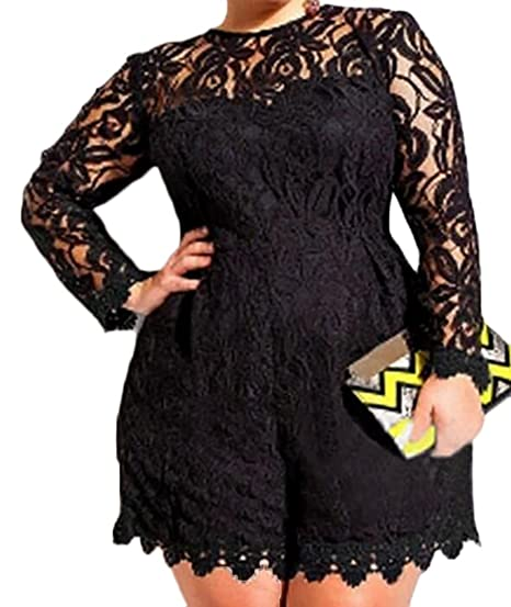 aa7451bc0c2 YYG-Women Plus Size Floral Lace Playsuit Rompers Clubwear Black L